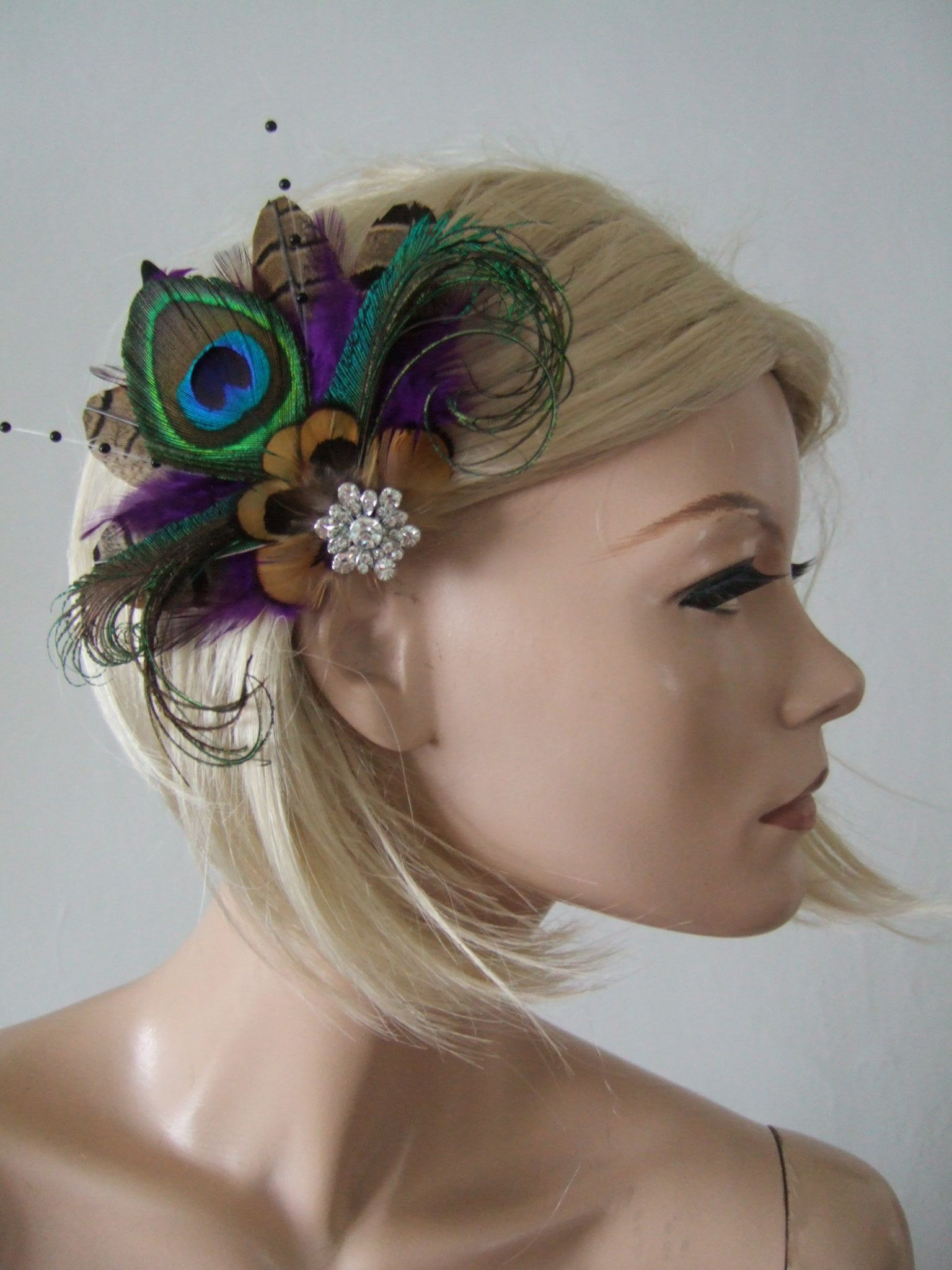 ... Purple Brown Green Peacock Pheasant Feathers Fascinator Hair Clip